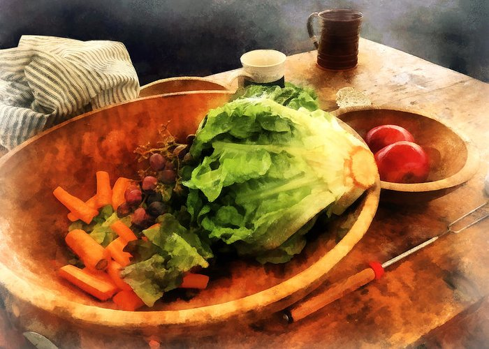 Lettuce Greeting Card featuring the photograph Making Waldorf Salad by Susan Savad