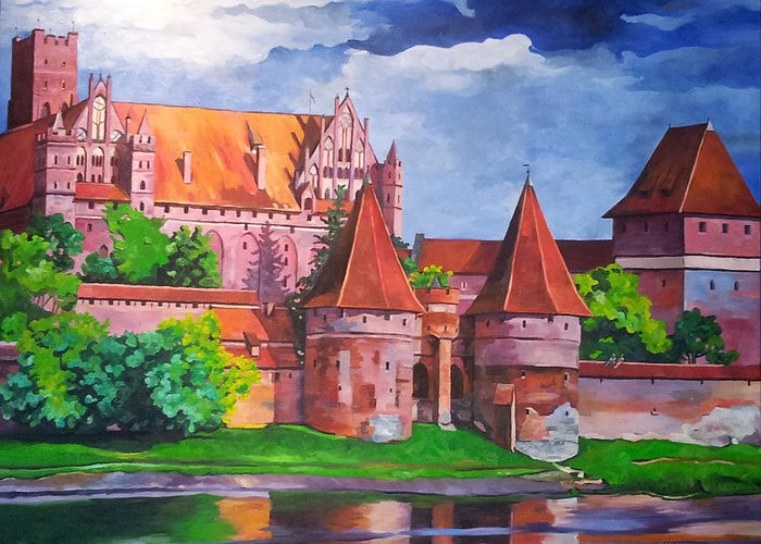 Urbanscape Greeting Card featuring the painting Malbork Castle by Nel Kwiatkowska