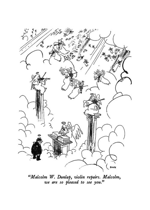 St. Peter To Man Entering Heaven Greeting Card featuring the drawing Malcolm W. Dunlap by George Booth