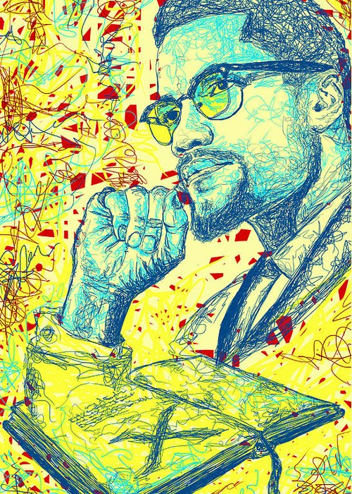 Malcolm X Sketch Greeting Cards