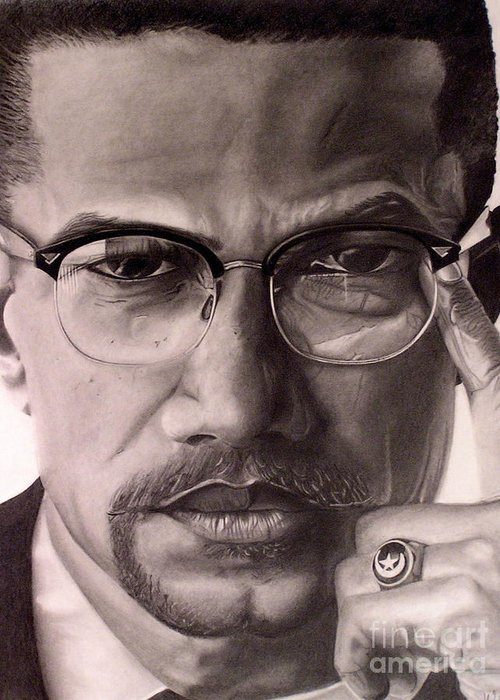 Malcolm X Drawing Greeting Cards