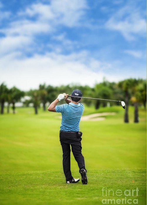 Golfing Greeting Card featuring the photograph Male Golf Player by Anek Suwannaphoom