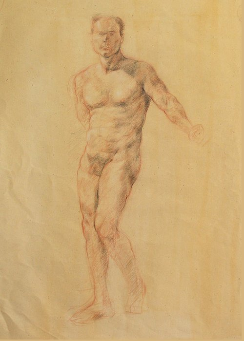 Drawing Greeting Card featuring the drawing Male Nude 2 by Becky Kim