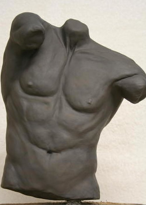 Figure Greeting Card featuring the sculpture Male Torso by Monika Degan