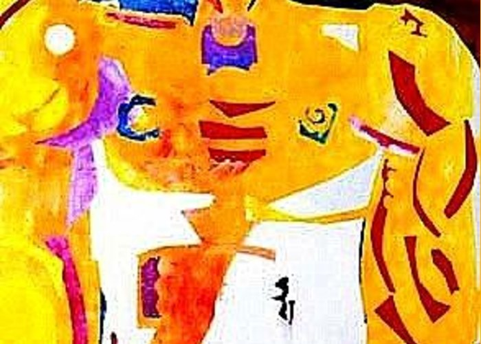 Abstract Expressionism Greeting Card featuring the mixed media Maledom by Diane Fine