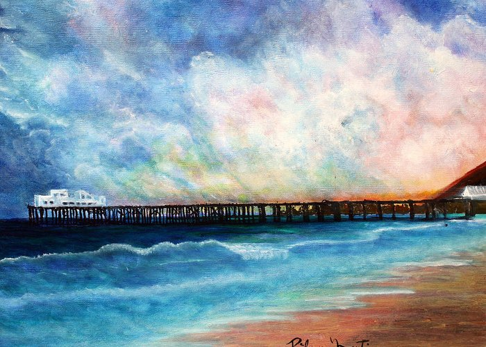 Ocean Greeting Card featuring the painting Malibu Pier by Pilar Martinez-Byrne