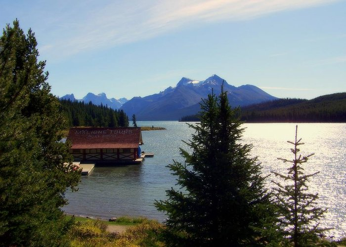 Maligne Lake Greeting Card featuring the photograph Maligne Lake Boathouse by Karen Wiles