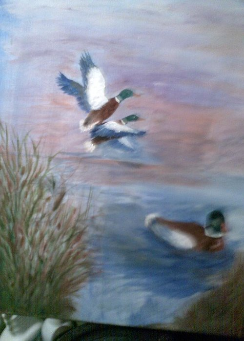 Animals Greeting Card featuring the painting Decoy by Karen Lipek