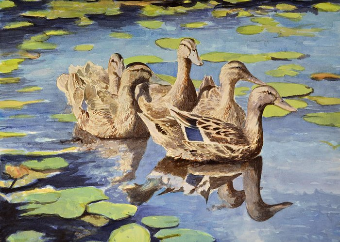 Pond Greeting Card featuring the painting Mallards by Thomas Stratton