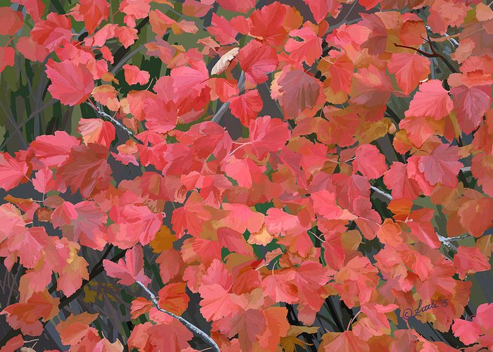 Nature Greeting Card featuring the painting Mallow Ninebark Fall by Pam Little