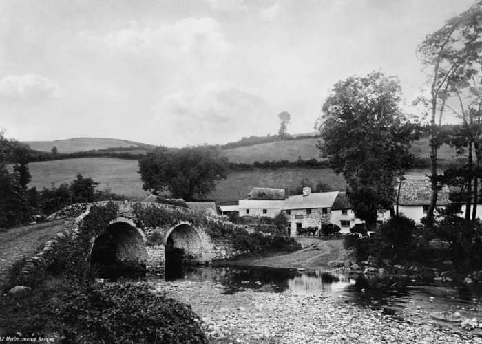 1890s Greeting Card featuring the photograph Malmsmead Bridge, C1900 by Granger