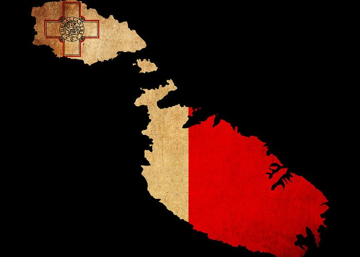 Flag Greeting Card featuring the photograph Malta Grunge Map Outline With Flag by Matthew Gibson