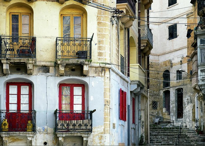 Shutter Greeting Card featuring the photograph Malta - Valletta by Foottoo