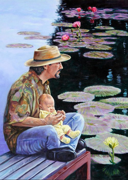 Man Greeting Card featuring the painting Man And Child In The Garden by John Lautermilch