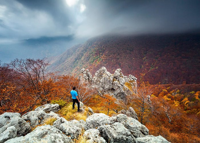 Autumn Greeting Card featuring the photograph Man And The Mountain by Evgeni Dinev