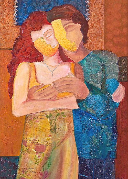 Man Greeting Card featuring the painting Man And Woman by Debi Starr
