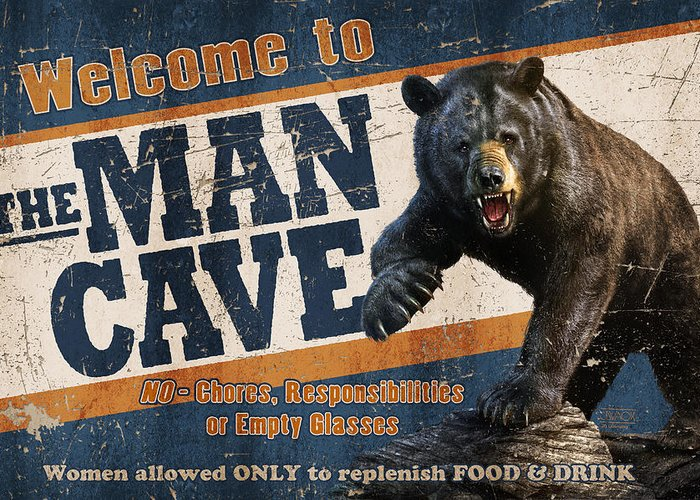 Jeff Wack Greeting Card featuring the painting Man Cave Balck Bear by JQ Licensing