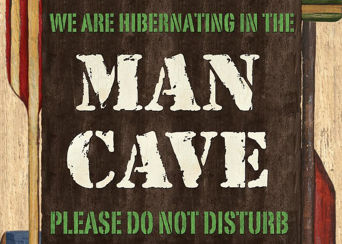 Man Greeting Card featuring the painting Man Cave Do Not Disturb by Debbie DeWitt