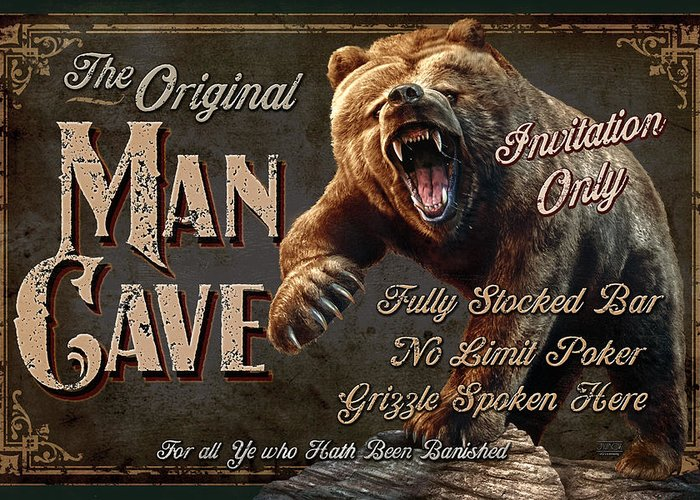Jeff Wack Greeting Card featuring the painting Man Cave Grizzly by JQ Licensing