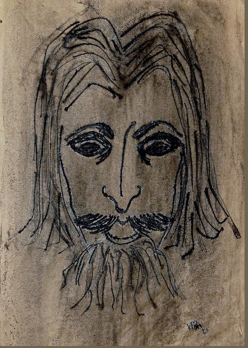 Face Greeting Card featuring the drawing Man by Erika Chamberlin
