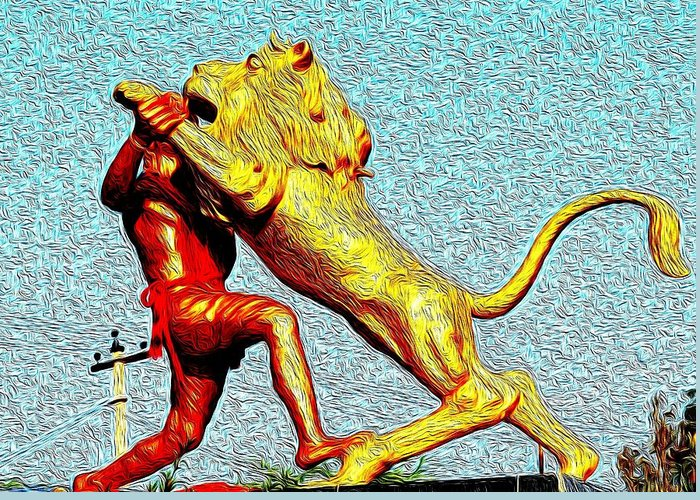 Man Greeting Card featuring the photograph Man Fighting With Lion Bravery by Deepti Chahar