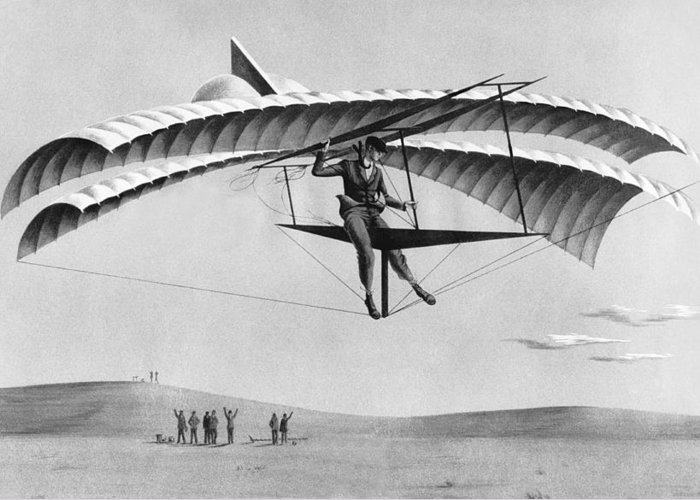 1035-635 Greeting Card featuring the photograph Man Gliding In 1883 by Underwood Archives