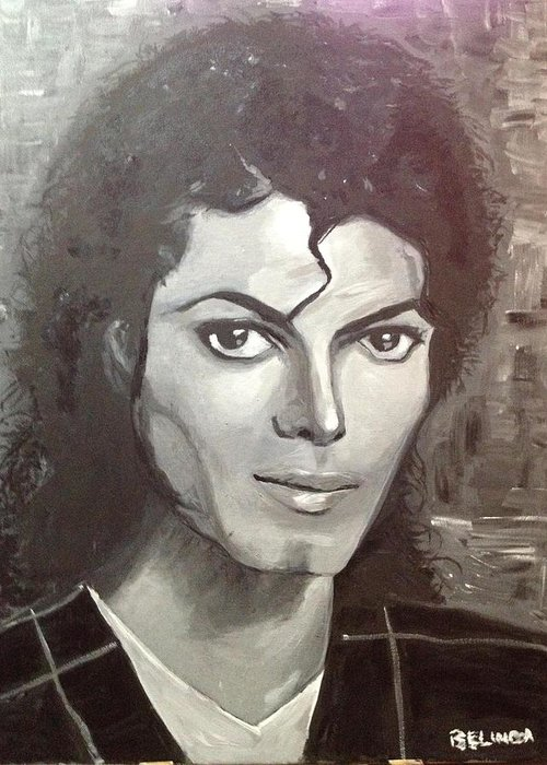 Mj Greeting Card featuring the painting Man In The Mirror by Belinda Low