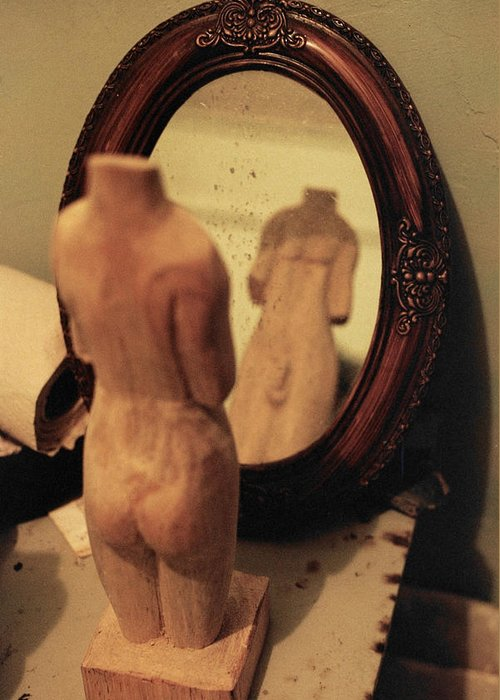 Wood Greeting Card featuring the photograph Man In The Mirror by David Cardona
