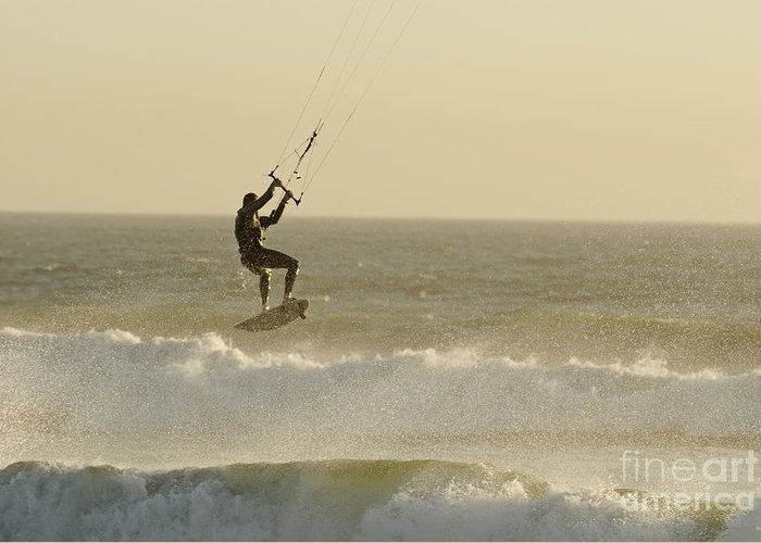 People Greeting Card featuring the photograph Man Kitesurfing On High Waves by Sami Sarkis