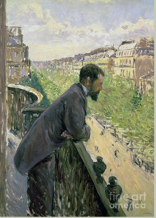 Homme Au Balcon Greeting Card featuring the painting Man On A Balcony by Gustave Caillebotte