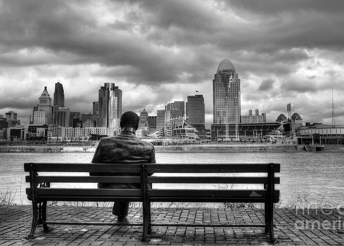 Cincinnati Greeting Card featuring the photograph Man On A Bench by Mel Steinhauer