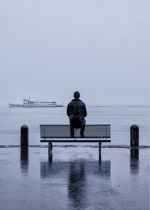 Male Greeting Card featuring the photograph Man On Bench by Joana Kruse