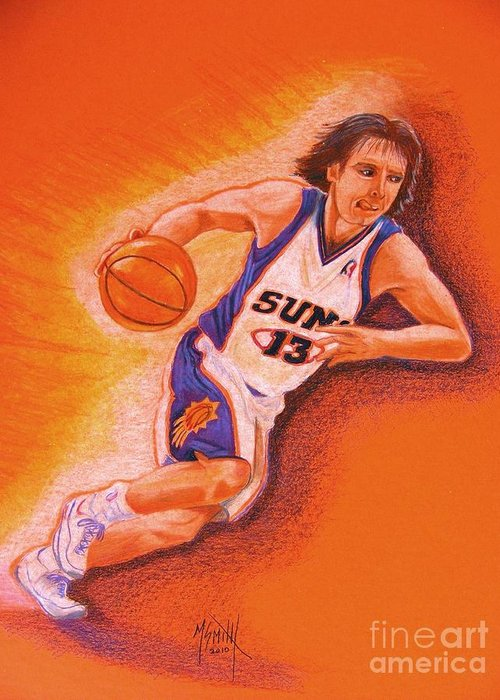 Steve Nash Greeting Card featuring the drawing Man On Fire by Marilyn Smith