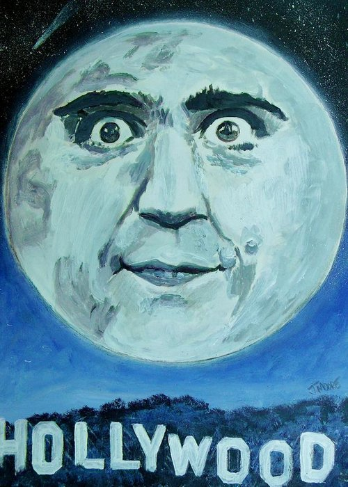 Man Greeting Card featuring the painting Man On The Moon by Jeremy Moore