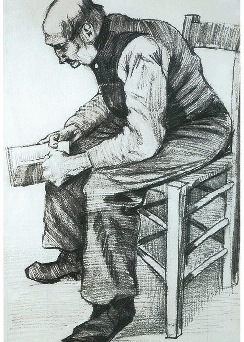 Man Reading The Bible Greeting Card featuring the drawing Man Reading The Bible by Vincent van Gogh