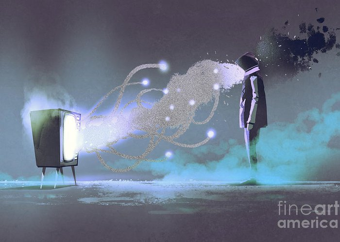 Tv Greeting Card featuring the drawing Man Standing In Front Of Unusual by Tithi Luadthong