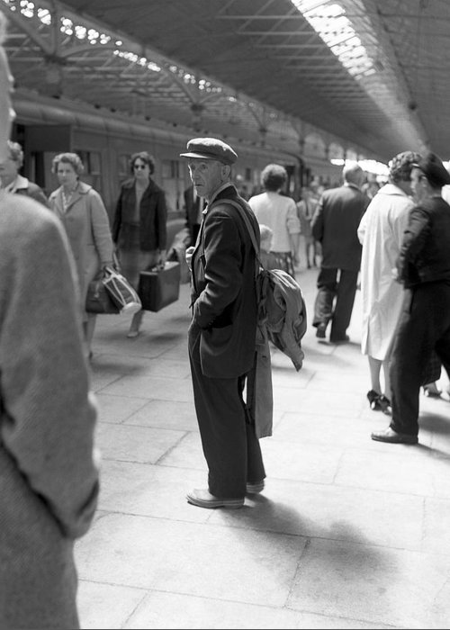 Train Station Greeting Card featuring the photograph Man Waits In Heuston Station Dublin by Irish Photo Archive