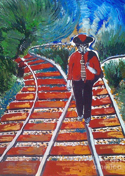 Art Greeting Card featuring the painting Man Walking On Rails by Ivan Ivanov