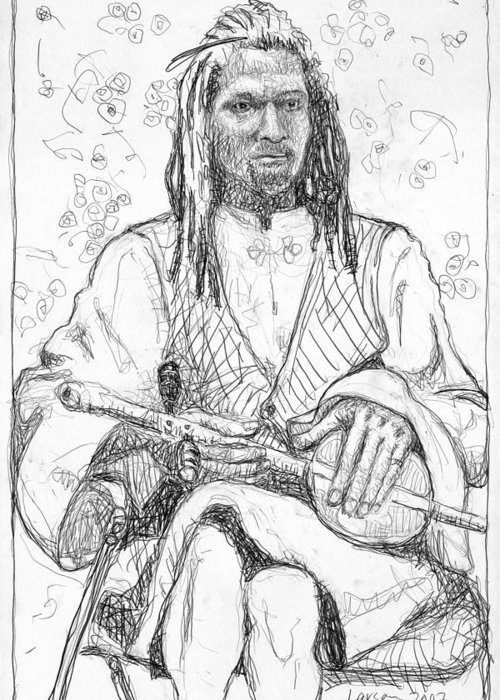 Larson Greeting Card featuring the drawing Man With Chinese Violin by Greg Larson
