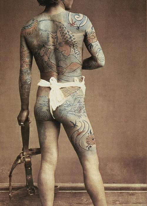 Male; Tattoing; Tattoos; Decorative; Design; Designs; Back; Body; Decoration Greeting Card featuring the photograph Man With Traditional Japanese Irezumi Tattoo by Japanese Photographer