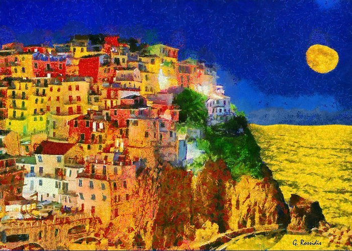 Rossidis Greeting Card featuring the painting Manarola By Night by George Rossidis
