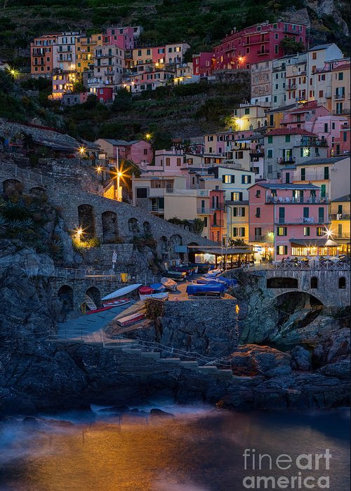 Michele Greeting Card featuring the photograph Manarola By Night by Michele Steffey