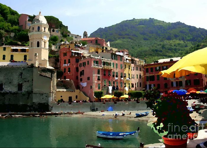 Cinque Terre Italy Greeting Card featuring the photograph Waterfront - Vernazza - Cinque Terre - Abstract by Jacqueline M Lewis