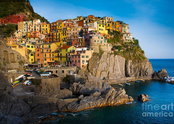 Architectural Greeting Card featuring the photograph Manarola by Inge Johnsson
