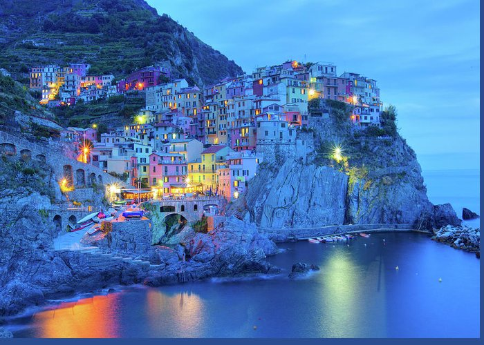Scenics Greeting Card featuring the photograph Manarola by M Swiet Productions
