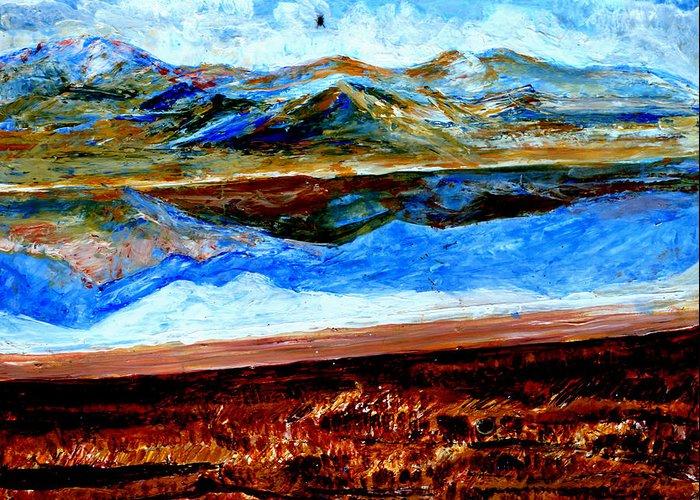 Himalayas Greeting Card featuring the painting Manas Sarovr Lake-14 by Anand Swaroop Manchiraju