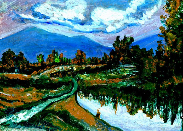 Himalayas Greeting Card featuring the painting Manas Sarovr Lake-17- by Anand Swaroop Manchiraju
