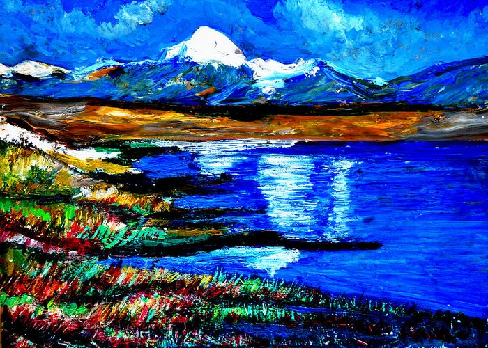 Himalayas Greeting Card featuring the painting Manas Sarovr Lake-18 by Anand Swaroop Manchiraju