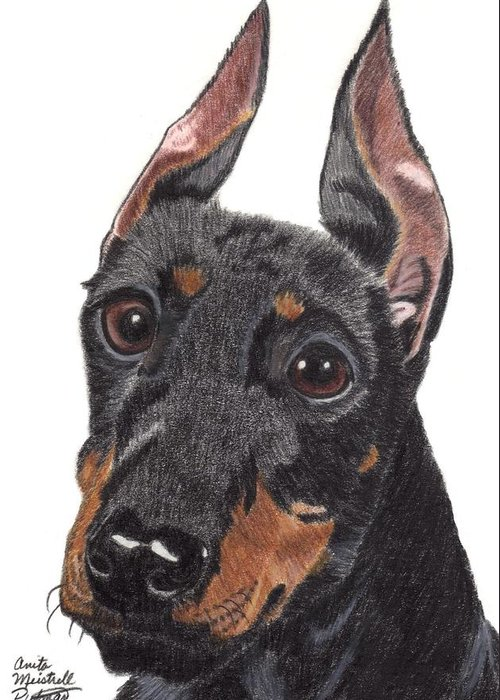 Dog Greeting Card featuring the painting Manchester Terrier Vignette by Anita Putman