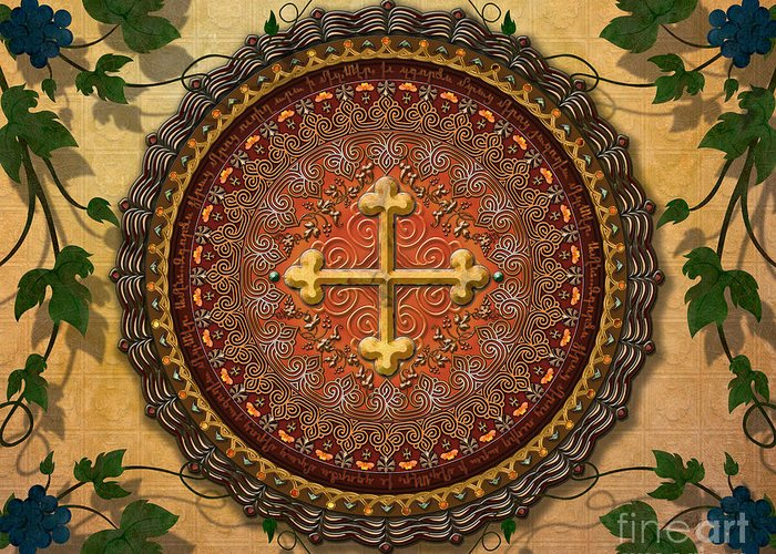 Mandala Greeting Card featuring the digital art Mandala Armenian Cross Sp by Bedros Awak